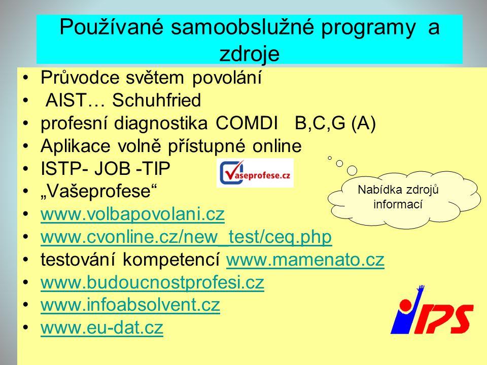 Používané samoobslužné programy a zdroje •Průvodce světem povolání • AIST… Schuhfried •profesní diagnostika COMDI B,C,G (A) •Aplikace volně přístupné