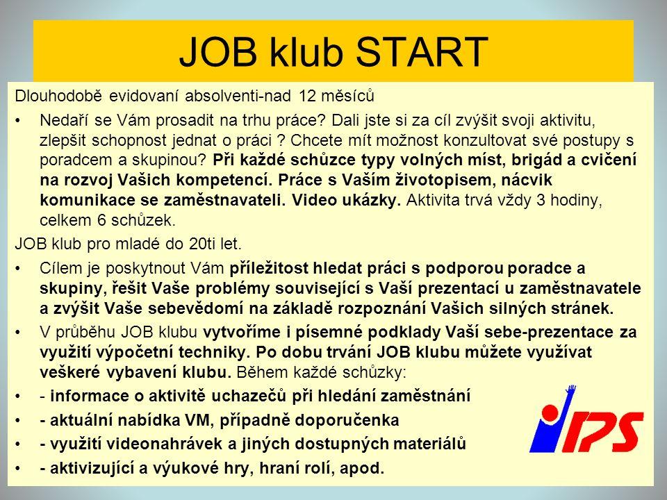 JOB klub START Dlouhodobě evidovaní absolventi-nad 12 měsíců •Nedaří se Vám prosadit na trhu práce? Dali jste si za cíl zvýšit svoji aktivitu, zlepšit