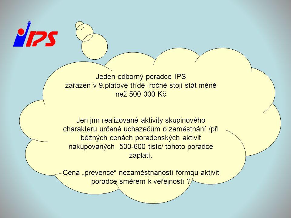 Jeden odborný poradce IPS zařazen v 9.platové třídě- ročně stojí stát méně než 500 000 Kč Jen jím realizované aktivity skupinového charakteru určené u
