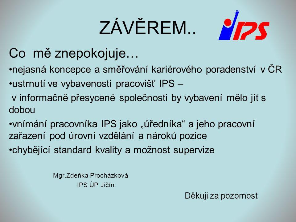 ZÁVĚREM.. Co mě znepokojuje… •nejasná koncepce a směřování kariérového poradenství v ČR •ustrnutí ve vybavenosti pracovišť IPS – v informačně přesycen