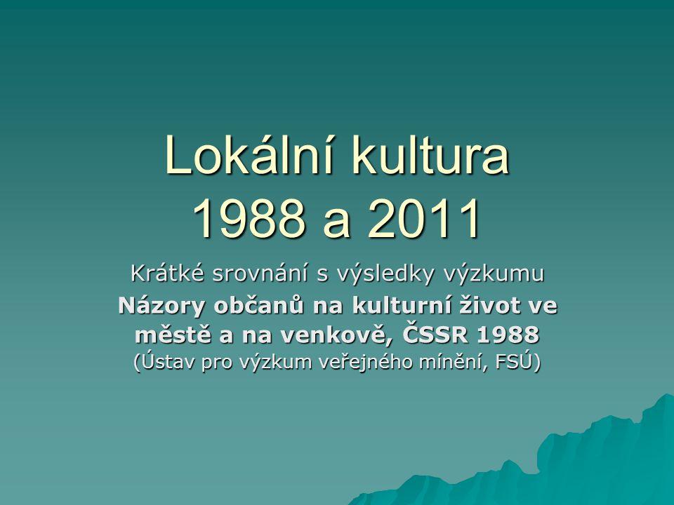 Lokální kultura 1988 a 2011 Krátké srovnání s výsledky výzkumu Názory občanů na kulturní život ve městě a na venkově, ČSSR 1988 (Ústav pro výzkum veře
