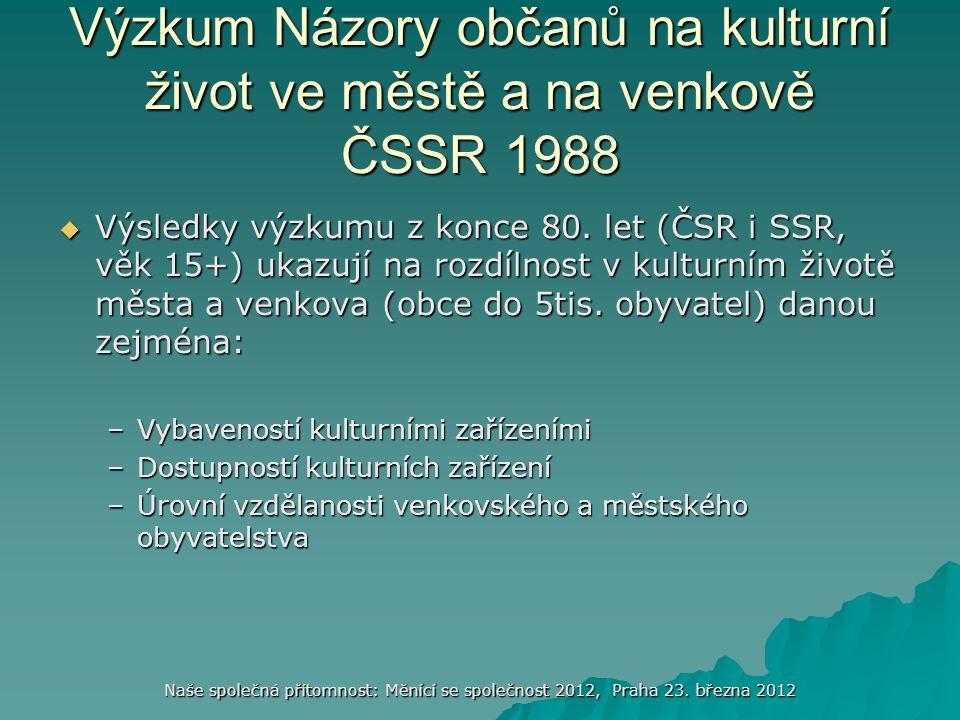 Naše společná přítomnost: Měnící se společnost 2012, Praha 23. března 2012 Výzkum Názory občanů na kulturní život ve městě a na venkově ČSSR 1988  Vý