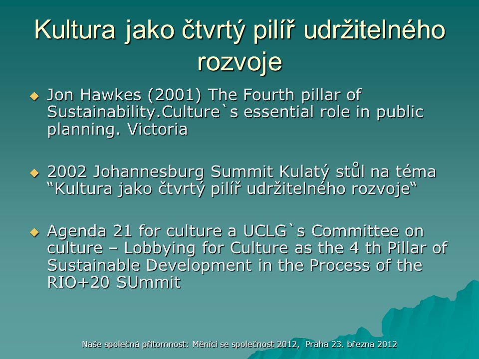 Naše společná přítomnost: Měnící se společnost 2012, Praha 23. března 2012 Kultura jako čtvrtý pilíř udržitelného rozvoje  Jon Hawkes (2001) The Four