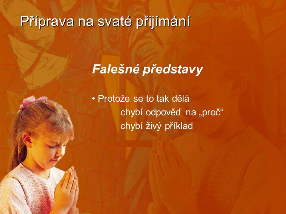 """Příprava na svaté přijímání Falešné představy • Protože se to tak dělá chybí odpověď na """"proč chybí živý příklad"""