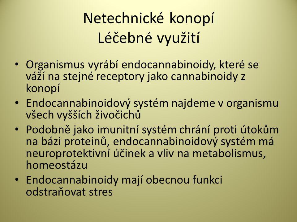 Netechnické konopí Léčebné využití • Cannabinoidové receptory – klíč k regulaci buněčných dějů – v CNS, imunitním systému, cévách, kostní dřeni, rozmnožovacím systému, periferii • CB receptory se nevyskytují v částech mozku odpovědných za respirační a kardiovaskulární funkce – proto cannabinoidy nezpůsobují poruchy těchto systémů.