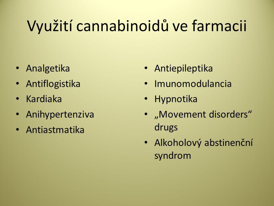 "Využití cannabinoidů ve farmacii • Analgetika • Antiflogistika • Kardiaka • Anihypertenziva • Antiastmatika • Antiepileptika • Imunomodulancia • Hypnotika • ""Movement disorders drugs • Alkoholový abstinenční syndrom"