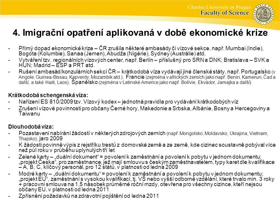 -Přímý dopad ekonomické krize – ČR zrušila některé ambasády či vízové sekce, např.