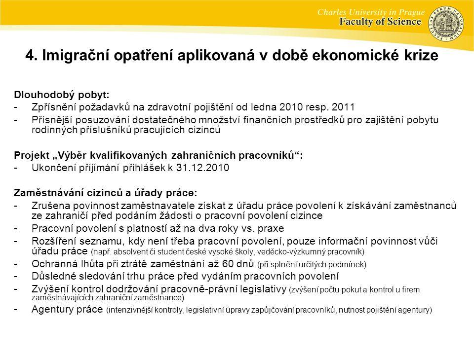 Dlouhodobý pobyt: -Zpřísnění požadavků na zdravotní pojištění od ledna 2010 resp. 2011 -Přísnější posuzování dostatečného množství finančních prostřed