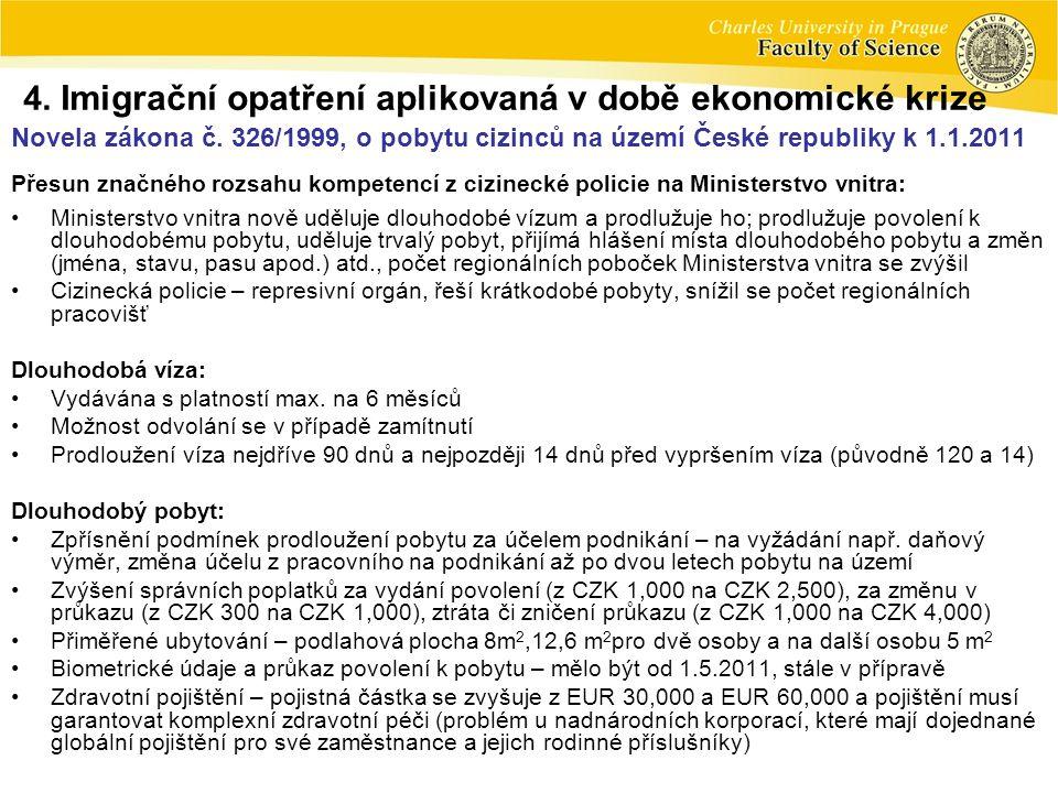 Novela zákona č. 326/1999, o pobytu cizinců na území České republiky k 1.1.2011 Přesun značného rozsahu kompetencí z cizinecké policie na Ministerstvo