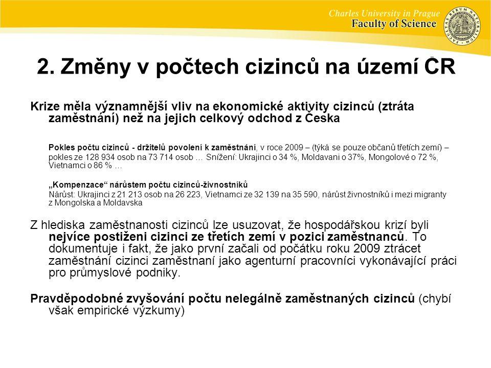 2. Změny v počtech cizinců na území ČR Krize měla významnější vliv na ekonomické aktivity cizinců (ztráta zaměstnání) než na jejich celkový odchod z Č