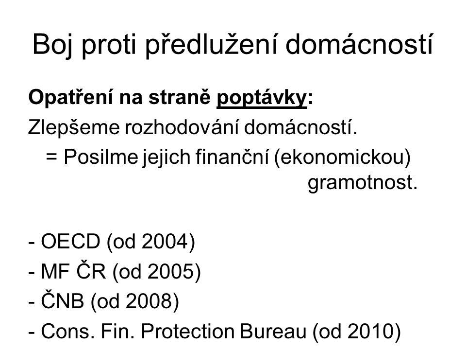 Boj proti předlužení domácností Opatření na straně poptávky: Zlepšeme rozhodování domácností. = Posilme jejich finanční (ekonomickou) gramotnost. - OE