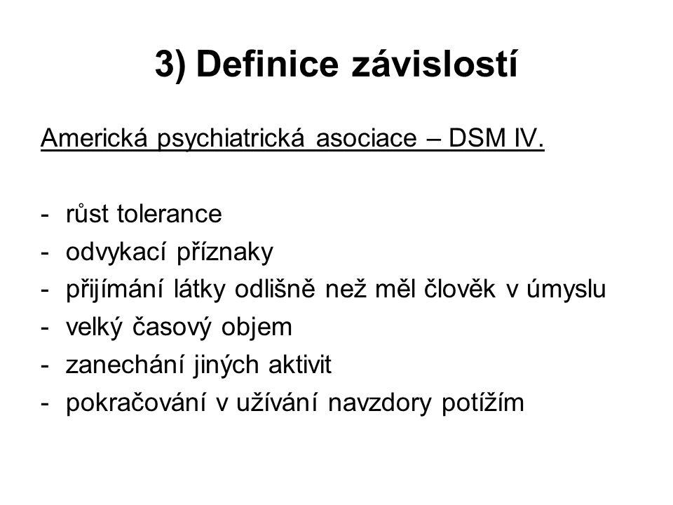3) Definice závislostí Americká psychiatrická asociace – DSM IV. -růst tolerance -odvykací příznaky -přijímání látky odlišně než měl člověk v úmyslu -
