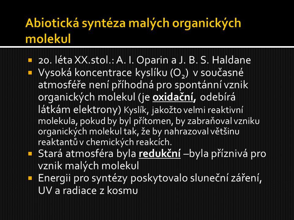  20. léta XX.stol.: A. I. Oparin a J. B. S. Haldane  Vysoká koncentrace kyslíku (O 2 ) v současné atmosféře není příhodná pro spontánní vznik organi