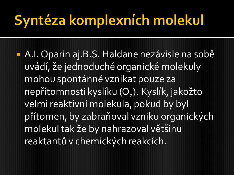  A.I. Oparin aj.B.S. Haldane nezávisle na sobě uvádí, že jednoduché organické molekuly mohou spontánně vznikat pouze za nepřítomnosti kyslíku (O 2 ).