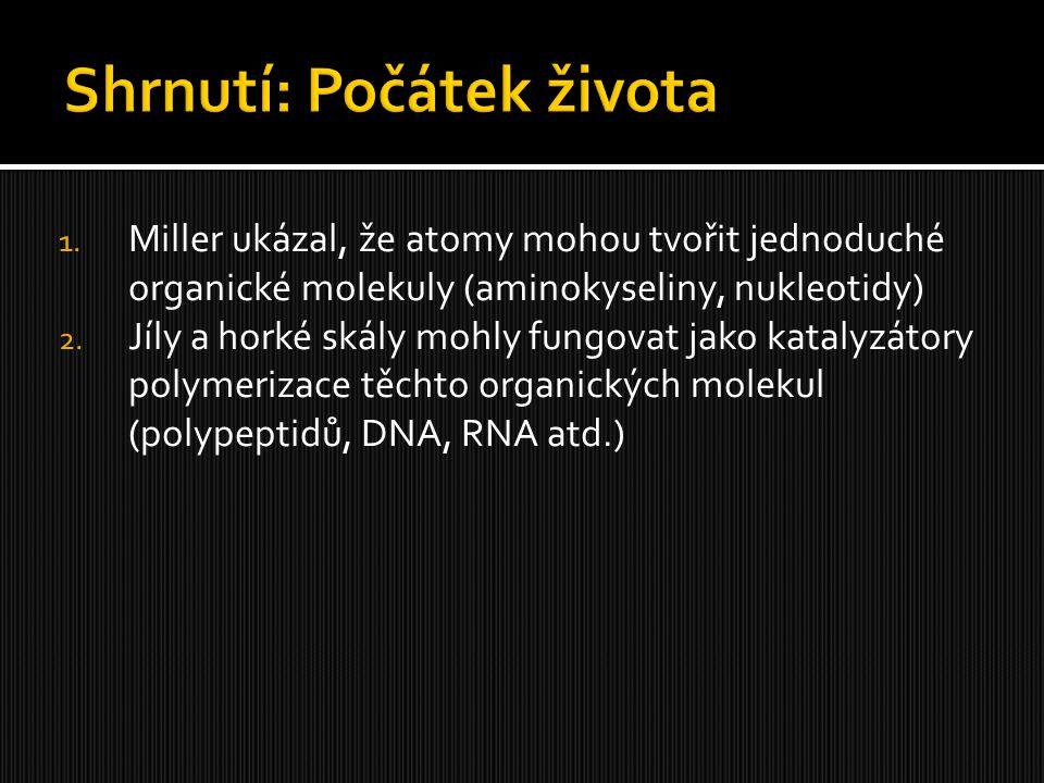 1. Miller ukázal, že atomy mohou tvořit jednoduché organické molekuly (aminokyseliny, nukleotidy) 2. Jíly a horké skály mohly fungovat jako katalyzáto