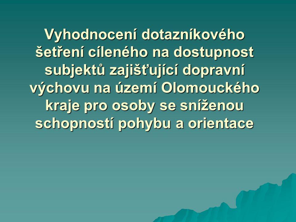 Vyhodnocení dotazníkového šetření cíleného na dostupnost subjektů zajišťující dopravní výchovu na území Olomouckého kraje pro osoby se sníženou schopností pohybu a orientace