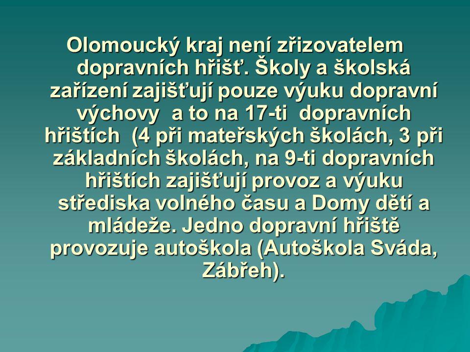 Olomoucký kraj není zřizovatelem dopravních hřišť. Školy a školská zařízení zajišťují pouze výuku dopravní výchovy a to na 17-ti dopravních hřištích (