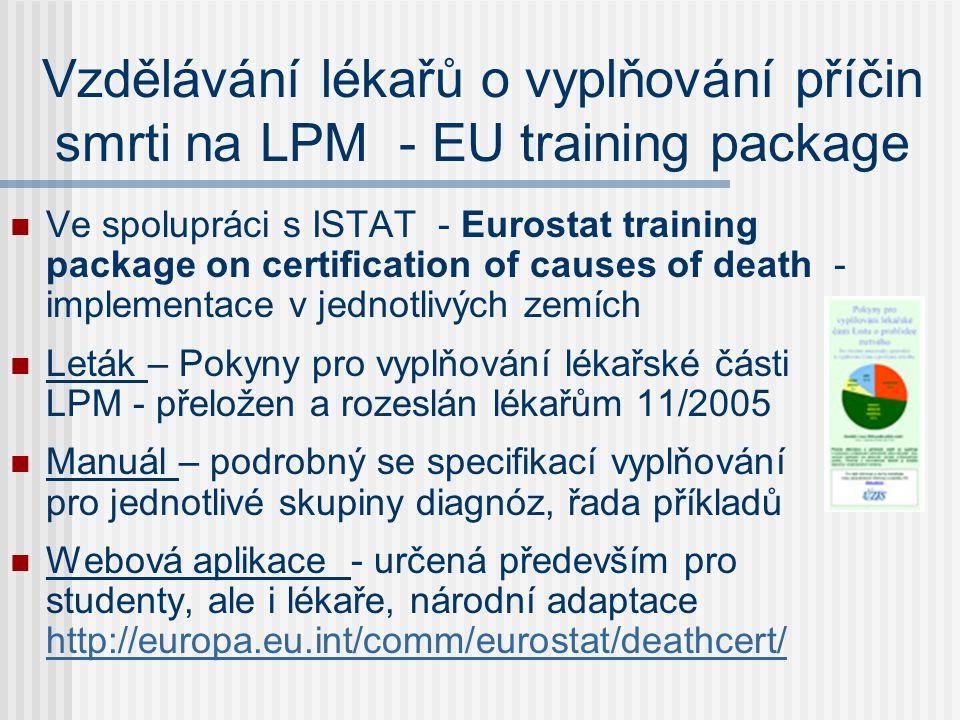 Vzdělávání lékařů o vyplňování příčin smrti na LPM - EU training package  Ve spolupráci s ISTAT - Eurostat training package on certification of causes of death - implementace v jednotlivých zemích  Leták – Pokyny pro vyplňování lékařské části LPM - přeložen a rozeslán lékařům 11/2005  Manuál – podrobný se specifikací vyplňování pro jednotlivé skupiny diagnóz, řada příkladů  Webová aplikace - určená především pro studenty, ale i lékaře, národní adaptace http://europa.eu.int/comm/eurostat/deathcert/ http://europa.eu.int/comm/eurostat/deathcert/