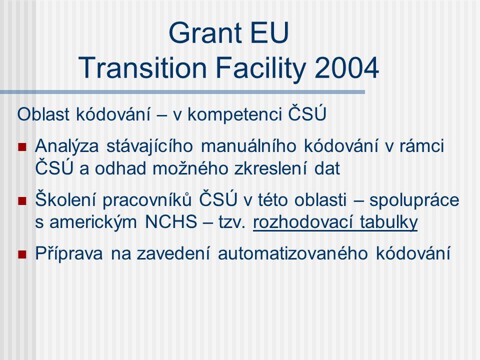 Grant EU Transition Facility 2004 Oblast kódování – v kompetenci ČSÚ  Analýza stávajícího manuálního kódování v rámci ČSÚ a odhad možného zkreslení dat  Školení pracovníků ČSÚ v této oblasti – spolupráce s americkým NCHS – tzv.
