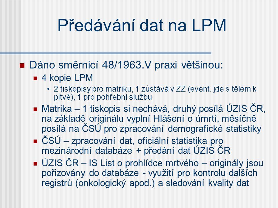 Předávání dat na LPM  Dáno směrnicí 48/1963.V praxi většinou:  4 kopie LPM •2 tiskopisy pro matriku, 1 zůstává v ZZ (event.