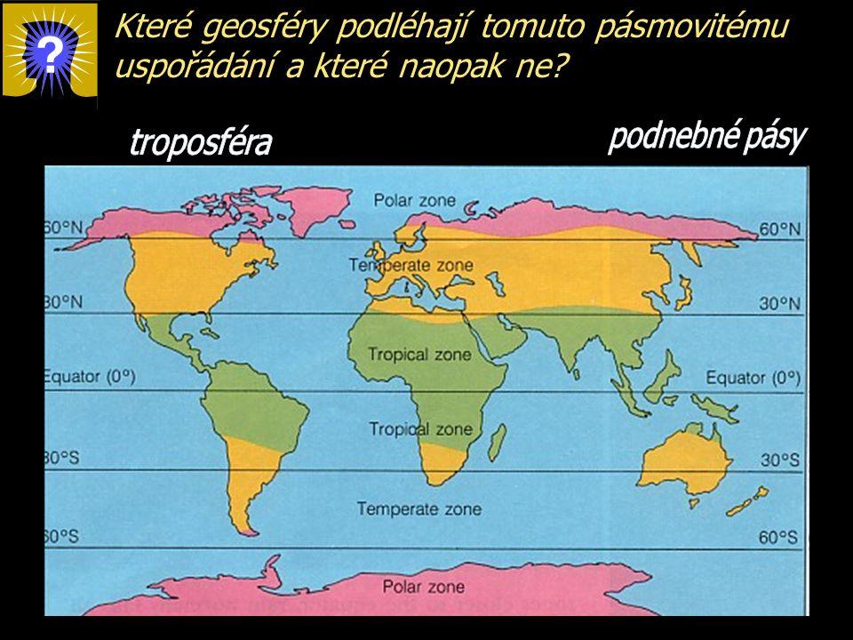 Které geosféry podléhají tomuto pásmovitému uspořádání a které naopak ne?