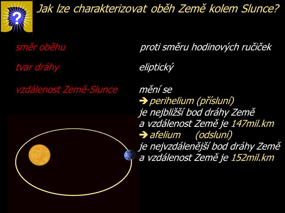 Jak lze charakterizovat oběh Země kolem Slunce? směr oběhu proti směru hodinových ručiček tvar dráhy eliptický vzdálenost Země-Slunce mění se  perihe
