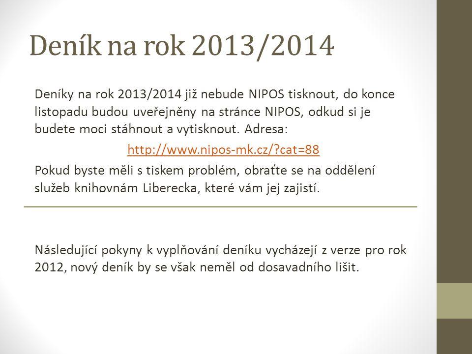 Deník na rok 2013/2014 Deníky na rok 2013/2014 již nebude NIPOS tisknout, do konce listopadu budou uveřejněny na stránce NIPOS, odkud si je budete moci stáhnout a vytisknout.