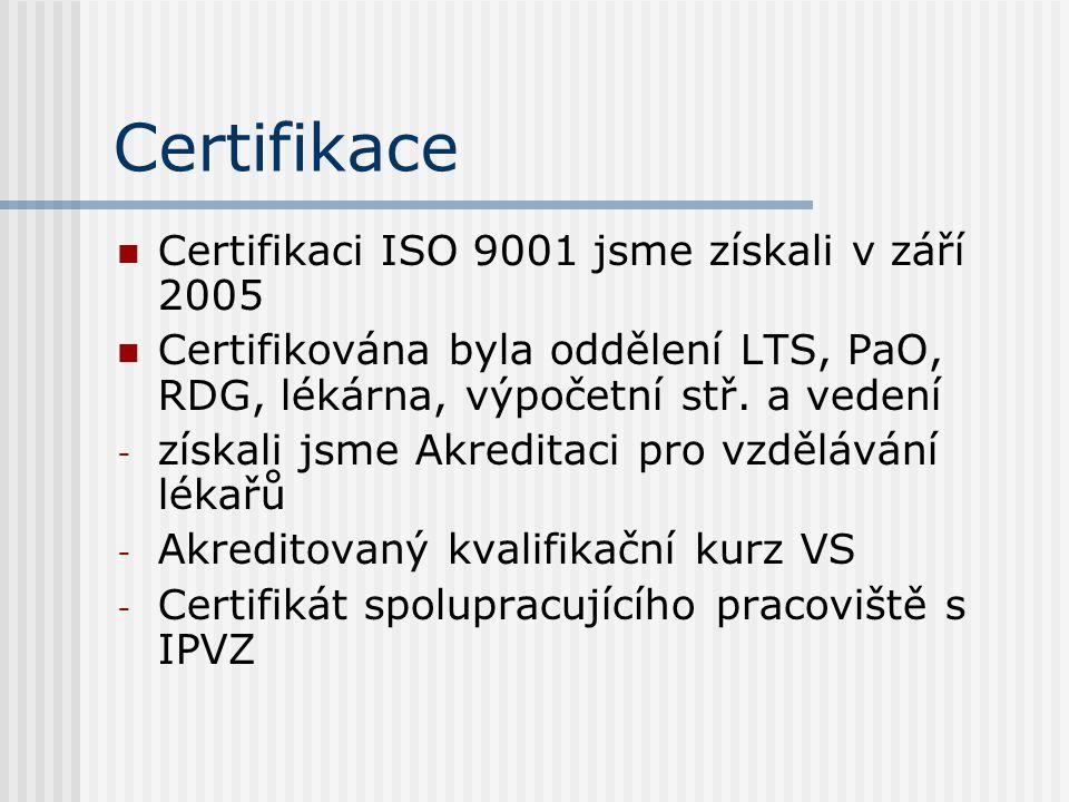 Certifikace  Certifikaci ISO 9001 jsme získali v září 2005  Certifikována byla oddělení LTS, PaO, RDG, lékárna, výpočetní stř.