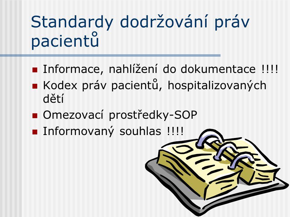 Směrnice péče o pacienty  Plán péče o pacienta  Epikrýzy  Podávání léčiv, pozitivní list  Urgentní stavy-proškolení všech zaměstnanců v KPCR  Pod