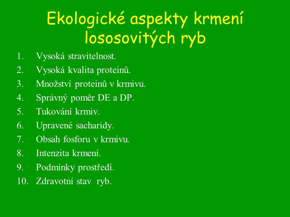 Ekologické aspekty krmení lososovitých ryb 1.Vysoká stravitelnost. 2.Vysoká kvalita proteinů. 3.Množství proteinů v krmivu. 4.Správný poměr DE a DP. 5