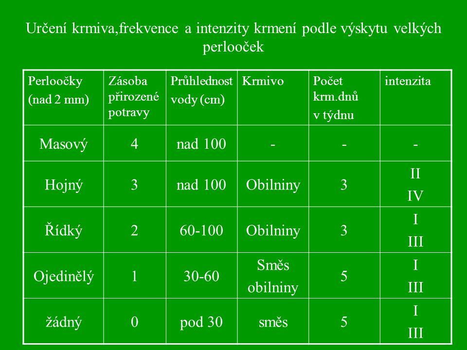 Perloočky (nad 2 mm) Zásoba přirozené potravy Průhlednost vody (cm) KrmivoPočet krm.dnů v týdnu intenzita Masový4nad 100--- Hojný3nad 100Obilniny3 II