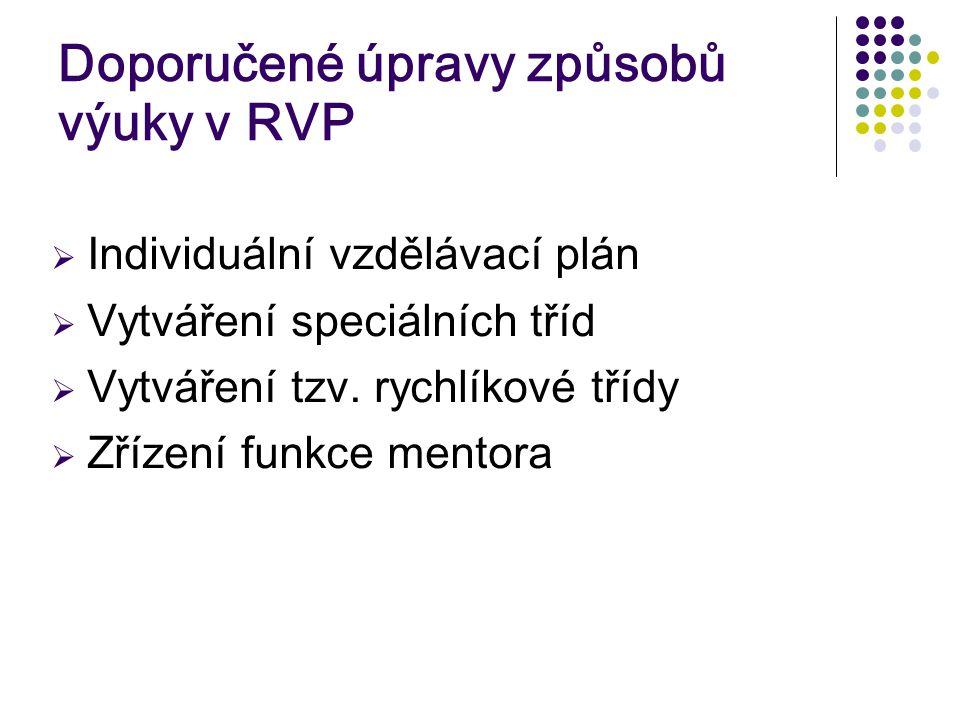 Doporučené úpravy způsobů výuky v RVP  Individuální vzdělávací plán  Vytváření speciálních tříd  Vytváření tzv.