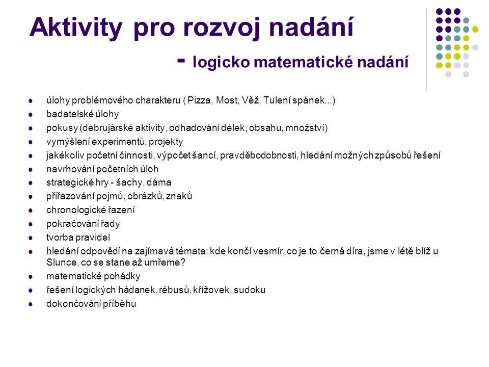 Aktivity pro rozvoj nadání - logicko matematické nadání  úlohy problémového charakteru ( Pizza, Most, Věž, Tulení spánek...)  badatelské úlohy  pok