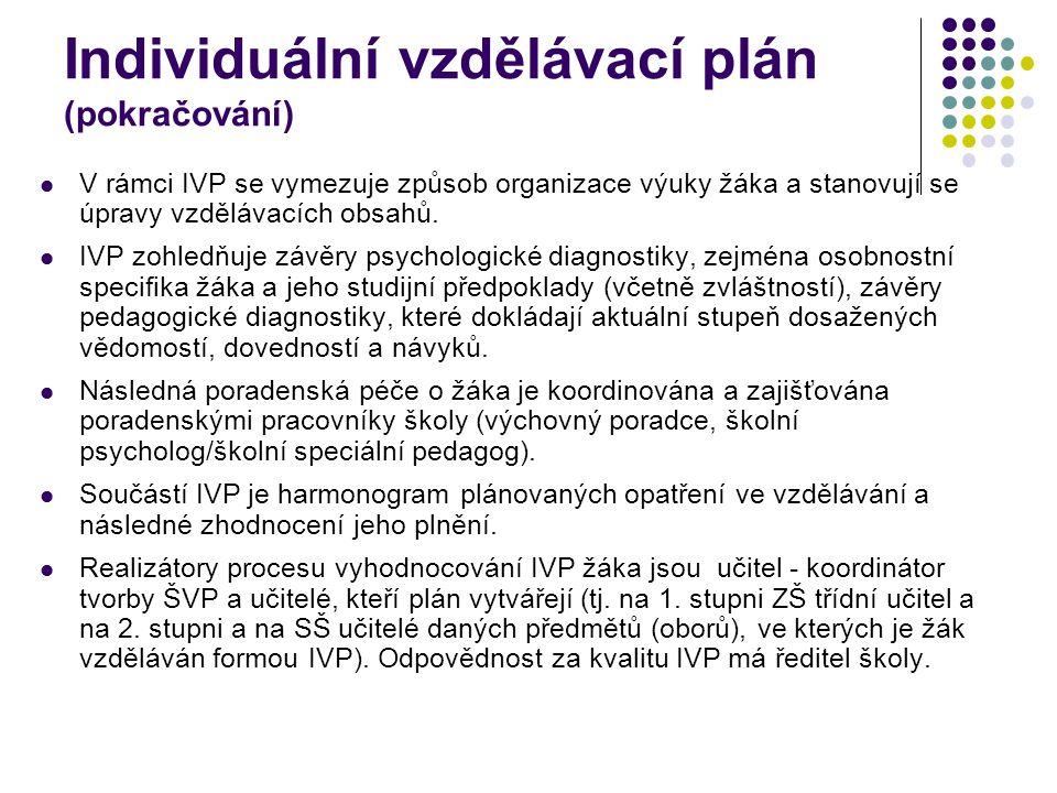 Individuální vzdělávací plán (pokračování)  V rámci IVP se vymezuje způsob organizace výuky žáka a stanovují se úpravy vzdělávacích obsahů.