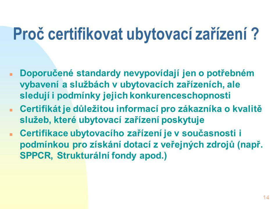 14 Proč certifikovat ubytovací zařízení ? n Doporučené standardy nevypovídají jen o potřebném vybavení a službách v ubytovacích zařízeních, ale sleduj