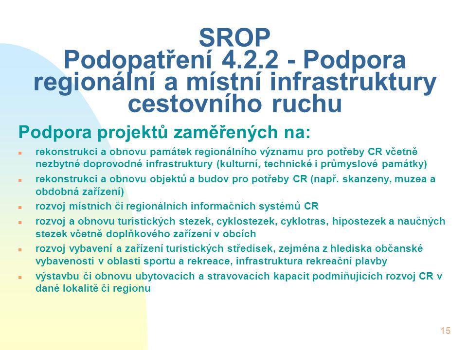 15 SROP Podopatření 4.2.2 - Podpora regionální a místní infrastruktury cestovního ruchu Podpora projektů zaměřených na: n rekonstrukci a obnovu památe