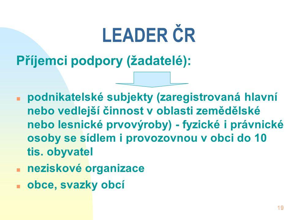 19 LEADER ČR Příjemci podpory (žadatelé): n podnikatelské subjekty (zaregistrovaná hlavní nebo vedlejší činnost v oblasti zemědělské nebo lesnické prv