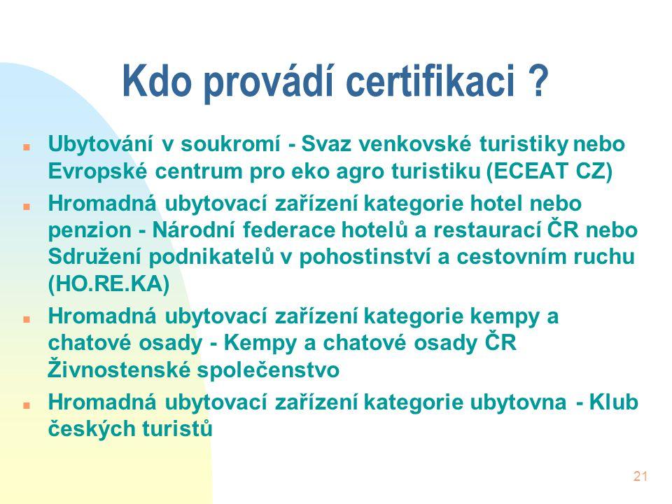 21 Kdo provádí certifikaci ? n Ubytování v soukromí - Svaz venkovské turistiky nebo Evropské centrum pro eko agro turistiku (ECEAT CZ) n Hromadná ubyt