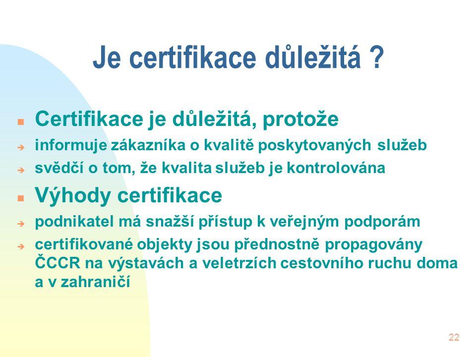 22 Je certifikace důležitá ? n Certifikace je důležitá, protože è informuje zákazníka o kvalitě poskytovaných služeb è svědčí o tom, že kvalita služeb