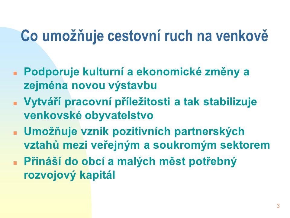 3 Co umožňuje cestovní ruch na venkově n Podporuje kulturní a ekonomické změny a zejména novou výstavbu n Vytváří pracovní příležitosti a tak stabiliz