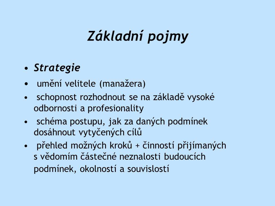 •strategické řízení •proces (probíhající kontinuálně) • plánování, organizování, rozhodování, komunikace, motivace, kontrola CÍL: stanovení efektivního vztahu výrobek – trh •optimalizace fin.