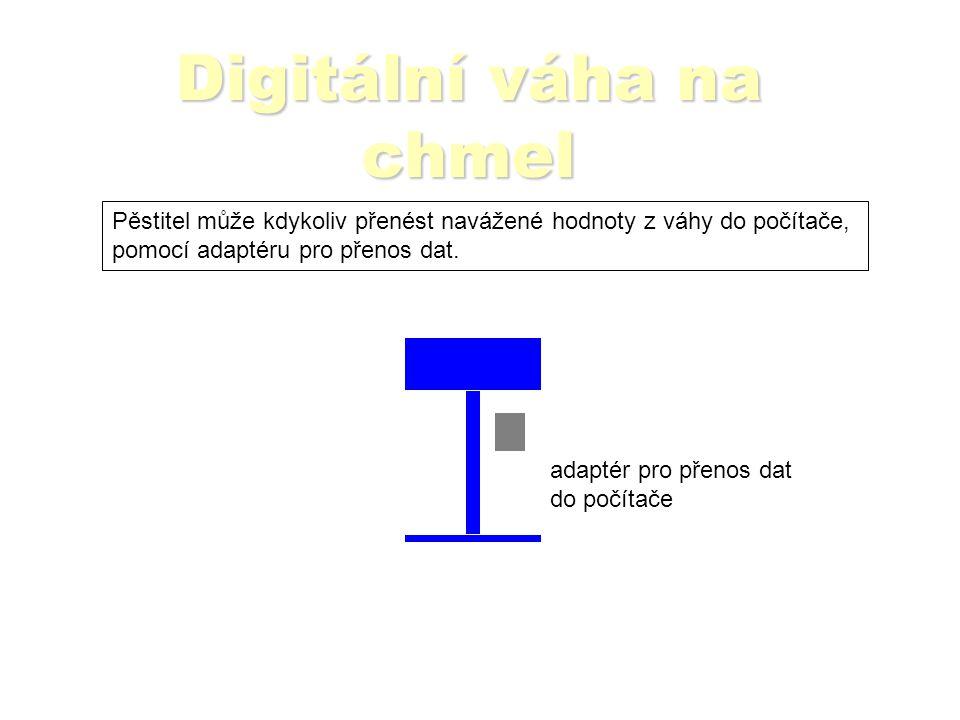 Digitální váha na chmel Pěstitel může kdykoliv přenést navážené hodnoty z váhy do počítače, pomocí adaptéru pro přenos dat.