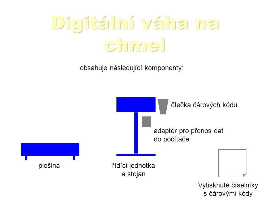 Digitální váha na chmel plošinařídící jednotka a stojan čtečka čárových kódů adaptér pro přenos dat do počítače obsahuje následující komponenty: Vytisknuté číselníky s čárovými kódy