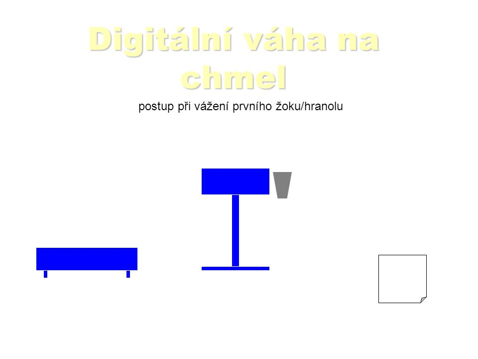 Digitální váha na chmel postup při vážení prvního žoku/hranolu Čtečkou sejmout z číselníku čárový kód obce, odrůdy atd.