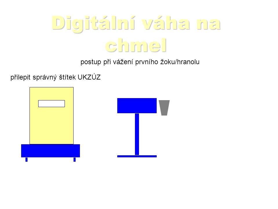 Digitální váha na chmel postup při vážení prvního žoku/hranolu Čtečkou sejmout čárový kód na štítku