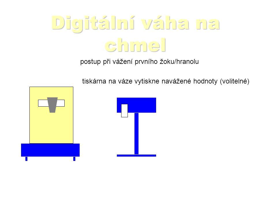Digitální váha na chmel postup při vážení prvního žoku/hranolu váha zapíše číslo, brutto, táru atd.