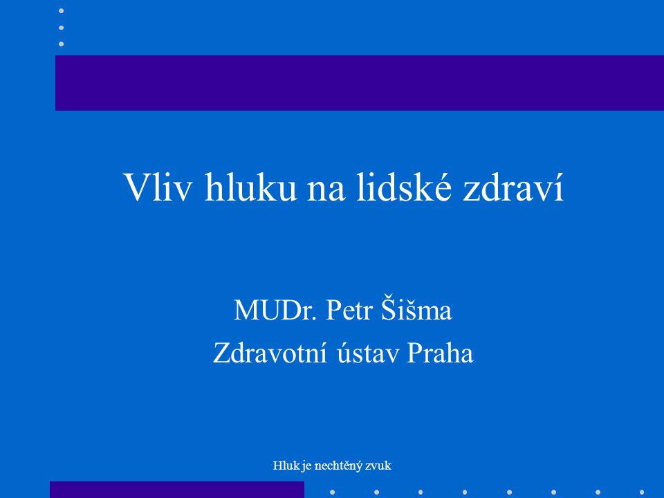 Hluk je nechtěný zvuk Vliv hluku na lidské zdraví MUDr. Petr Šišma Zdravotní ústav Praha