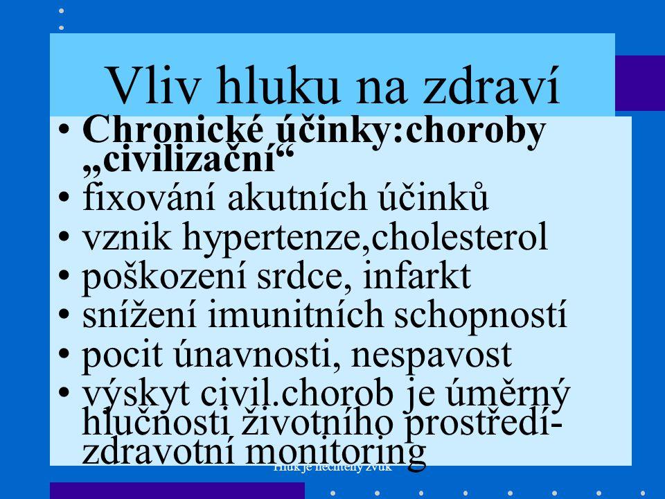 """Hluk je nechtěný zvuk Vliv hluku na zdraví •Chronické účinky:choroby """"civilizační •fixování akutních účinků •vznik hypertenze,cholesterol •poškození srdce, infarkt •snížení imunitních schopností •pocit únavnosti, nespavost •výskyt civil.chorob je úměrný hlučnosti životního prostředí- zdravotní monitoring"""
