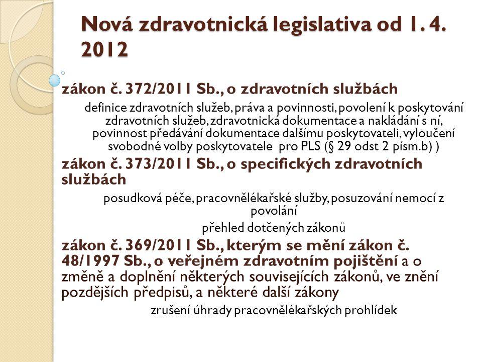 Nová zdravotnická legislativa od 1. 4. 2012 zákon č. 372/2011 Sb., o zdravotních službách definice zdravotních služeb, práva a povinnosti, povolení k