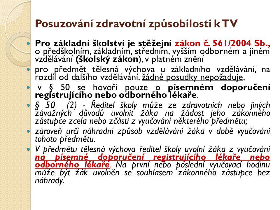 Posuzování zdravotní způsobilosti k TV  Pro základní školství je stěžejní zákon č. 561/2004 Sb., o předškolním, základním, středním, vyšším odborném